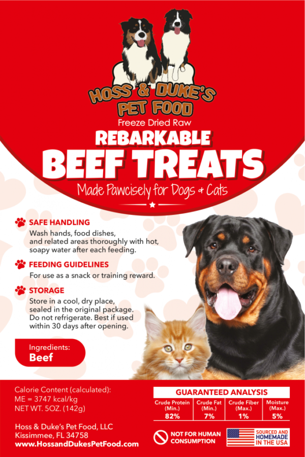 Hoss & Duke's Rebarkable Beef treats label with instructions and a dog and a cat