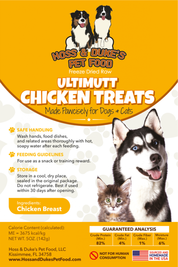 Hoss & Duke's Ultimutt Chicken treats label with instructions and a dog and a cat