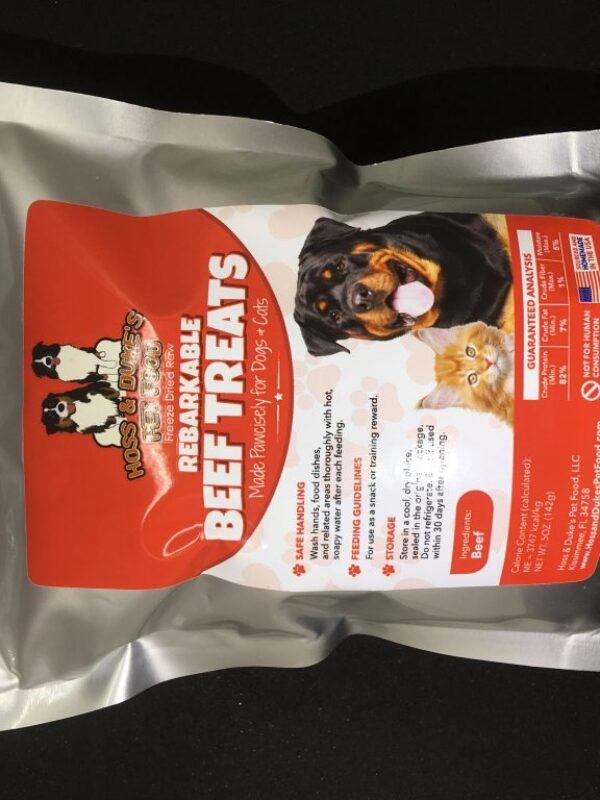 Rebarkable Beef Treats Bag of Treats Black Background