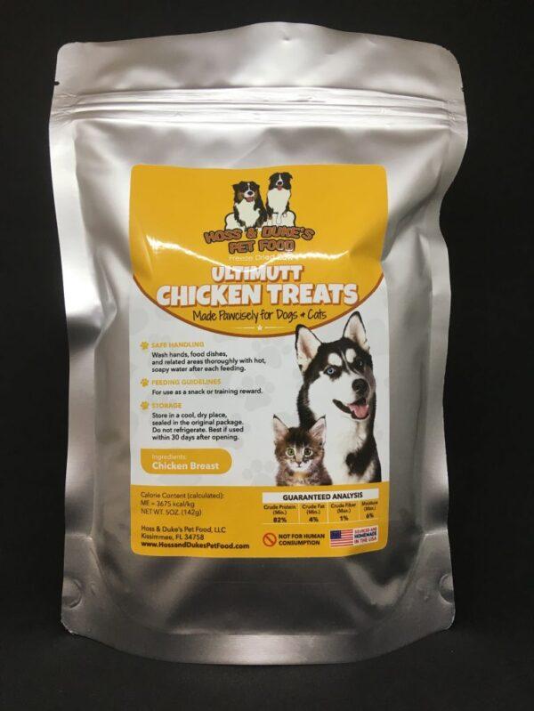 Ultimutt Chicken Treats Bag Black Background 3