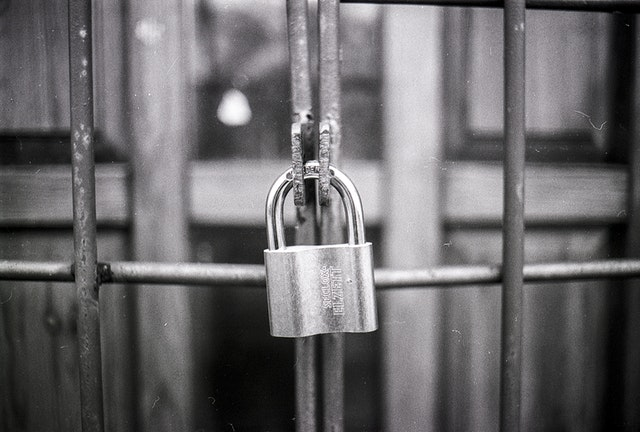 Locked gate showing privacy policy