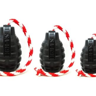 USA-K9 MAGNUM GRENADE DURABLE RUBBER CHEW TOY, TREAT DISPENSER, REWARD TOY, TUG TOY, AND RETRIEVING TOY - BLACK MAGNUM