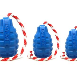 USA-K9 GRENADE DURABLE RUBBER CHEW TOY, TREAT DISPENSER, REWARD TOY, TUG TOY, AND RETRIEVING TOY - BLUE