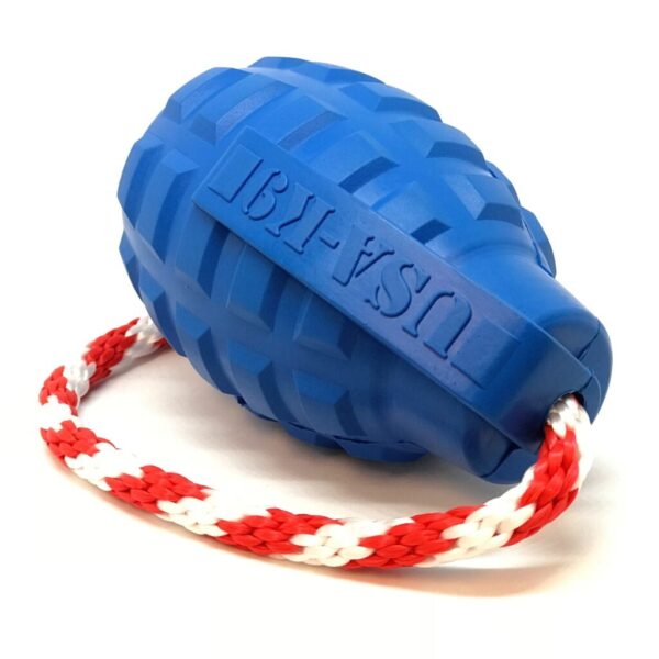 USA-K9 Grenade Dog Toy blue with rope
